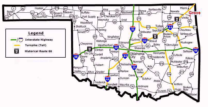 MapLocation - Oklahoma highways map